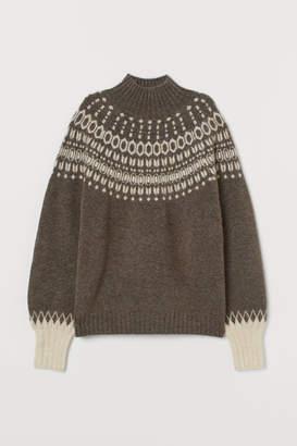 H&M Jacquard-knit Sweater - Beige