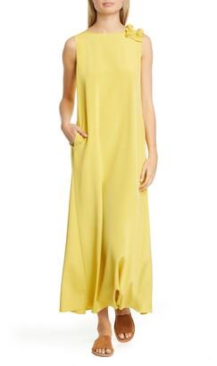 Lafayette 148 New York Francesca Ruffle Shoulder Stretch Silk Maxi Dress