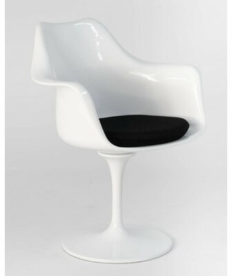 Orren Ellis James Mid-Century Dining Chair Color: White/Black