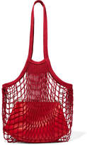 Vetements Granny Cotton-mesh And Leather Shoulder Bag - Claret
