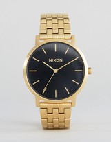 Nixon Porter Gold Bracelet Watch With Black Sunray Dial