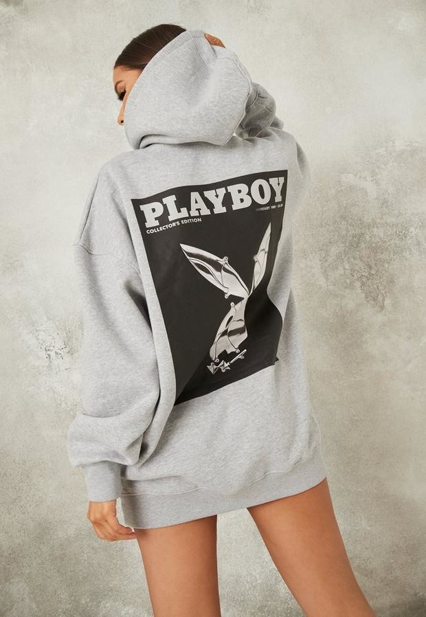 Missguided Playboy X Gray Bunny Print Hoodie Dress