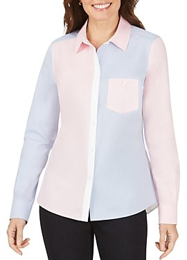 Foxcroft Hampton Non-Iron Color-Blocked Oxford Shirt