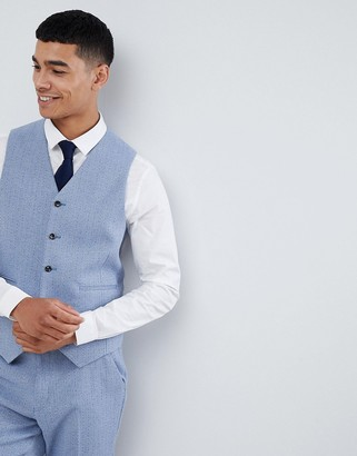 ASOS DESIGN wedding skinny suit vest in light blue herringbone