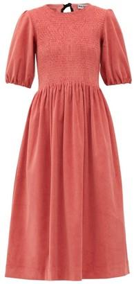 Molly Goddard Priscilla Shirred Cotton-blend Corduroy Dress - Pink