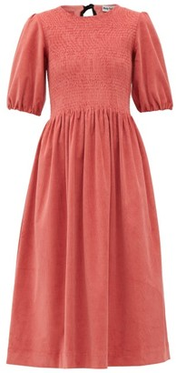 Molly Goddard Priscilla Shirred Cotton-blend Corduroy Dress - Womens - Pink