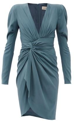 Alexandre Vauthier Gathered Silk-blend Jersey Dress - Blue