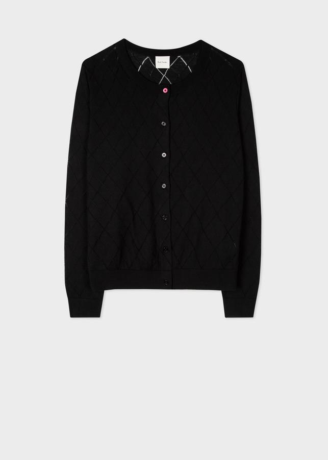 Paul Smith Women's Black Pointelle Organic Cotton Cardigan