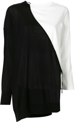Y's two-tone long-sleeved T-shirt
