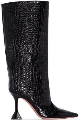 Amina Muaddi Rain 95mm crocodile-effect knee-high boots