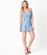 Unique Vintage 1950s Style Blue Chambray Denim Cherry Dolly Romper