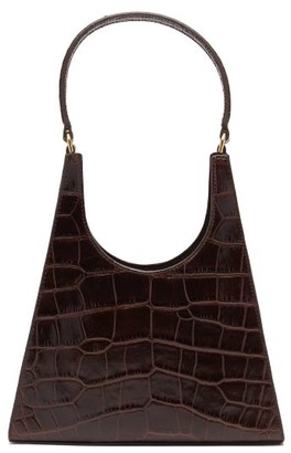 STAUD Rey Crocodile-embossed Leather Handbag - Brown