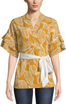 5twelve Leaf Printed Ruffle Tiered-Sleeve Kimono
