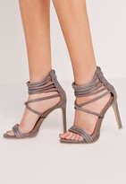 Missguided Strappy Cuff Heeled Sandals Grey