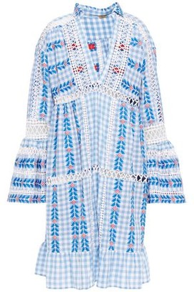 Dodo Bar Or Crochet-trimmed Embroidered Checked Cotton-gauze Dress