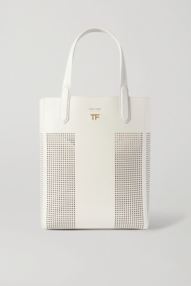 Tom Ford T Small Laser-cut Leather Tote - White