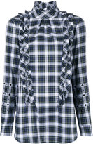No.21 ruffle detail embellished plaid shirt - women - Cotton/glass - 38