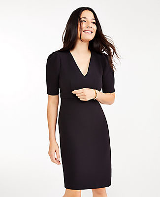 Ann Taylor Petite Doubleweave Short Sleeve Sheath Dress