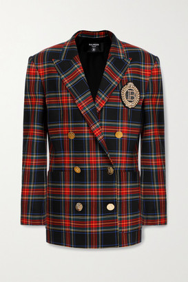 Balmain Double-breasted Button-embellished Checked Virgin Wool-blend Blazer - Black