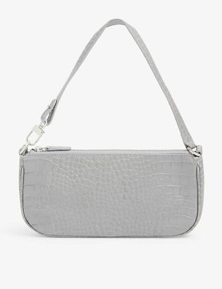 BY FAR Rachel crocodile-embossed deadstock leather shoulder bag