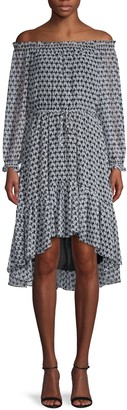 Diane von Furstenberg Off-The-Shoulder High-Low Dress