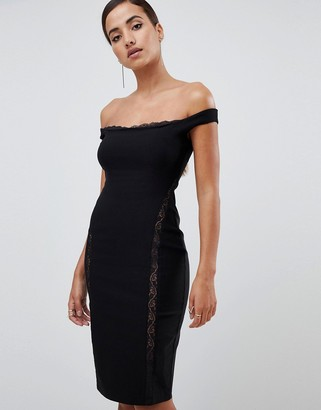 Bardot Vesper lace underlay bodycon midi dress in black