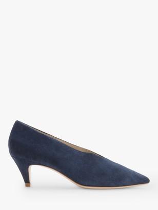 Boden Natalie Suede Kitten Heel Court Shoes, Navy