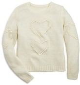 Aqua Girls' Waffle Textured Heart Sweater - Sizes S-XL