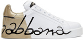 Dolce & Gabbana White & Gold Writing Sneakers