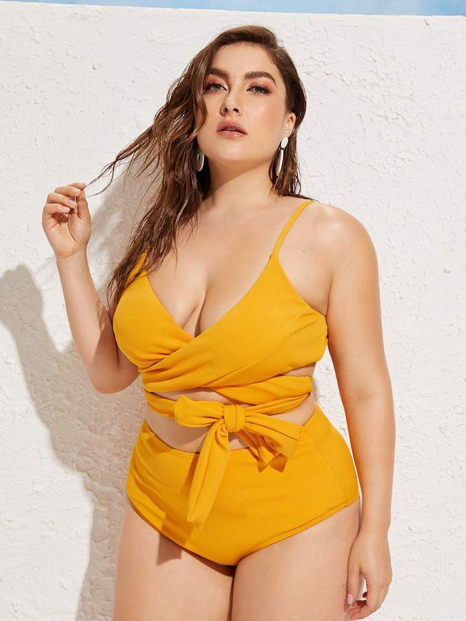 0552825c6d Shein Yellow Plus Size Swimsuits - ShopStyle