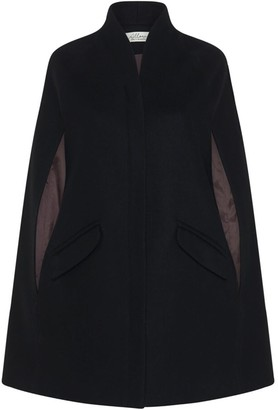 Allora Chelsea Wool Cashmere Cape - Black