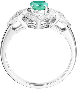 Love Gem 9ct White Gold Round Emerald and 0.12ct Diamond Bridal Ring