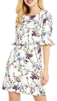 Oasis Floral Flute Sleeve Shift Dress, Multi Neutral
