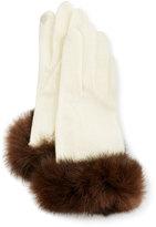 Portolano Fur-Cuff Knit Tech Gloves, Off White/Brown