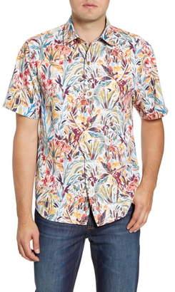 Tommy Bahama Bongo Palms Classic Fit Short Sleeve Button-Up Silk Blend Shirt