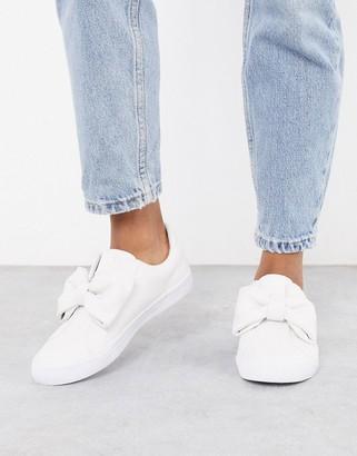 Dekker ASOS DESIGN bow slip on sneakers in white