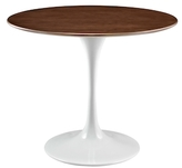 Modway Lippa Round Walnut Wood Dining Table