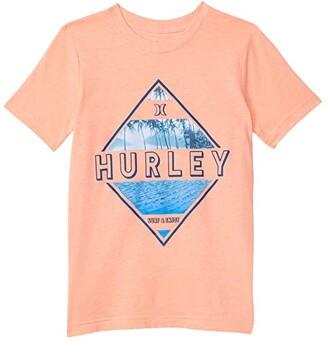Hurley Diamond Graphic T-Shirt (Big Kids) (Bright Mango Heather) Boy's Clothing
