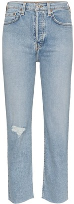 RE/DONE Stove distressed straight-leg jeans