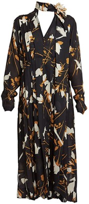 Victoria Beckham Floral Pleated Dress
