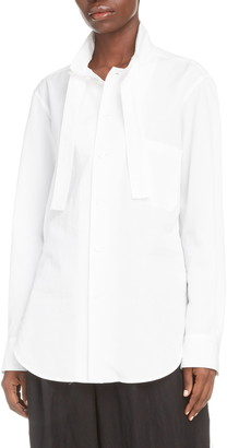 Y's by Yohji Yamamoto Tie Detail Cotton Poplin Shirt