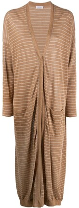 Brunello Cucinelli Long Striped Cardi-Coat