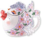 Flower Fish Ceramic Teapot in White/Pink