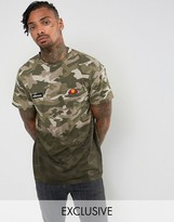 Ellesse T-Shirt With Camo Dip Dye