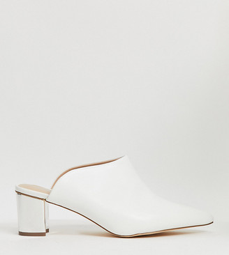 Simply Be extra wide fit backless mule in white