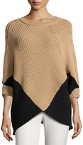 Minnie Rose Colorblock Poncho Sweater, Camel/Black