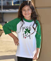 Beary Basics Green & White 'Pinch Proof' Raglan Tee - Toddler & Girls