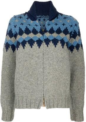 1960s Intarsia Knit Zip-Up Cardigan