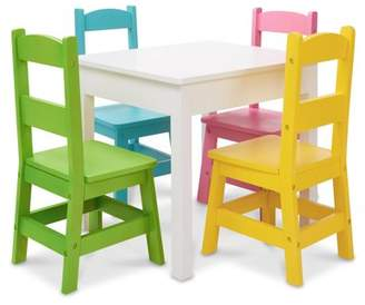 Melissa & Doug Kids Furniture Wooden Table and 4 Chairs - Pastel (White Table, Pastel Pink, Yellow, Green, Blue Chairs)