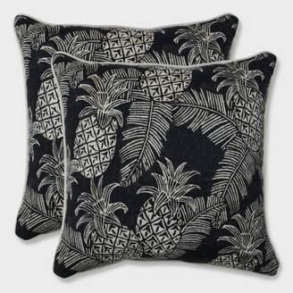 "Modern Outdoor Pillow Perfect 16.5"" 2pk Carate Batik Noche Throw Pillows Black"